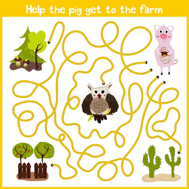 Шарж образования будет продолжать дом логического пути красочных животных Помощь получает милый розовый дом свиньи на ферме Соотв бесплатная иллюстрация