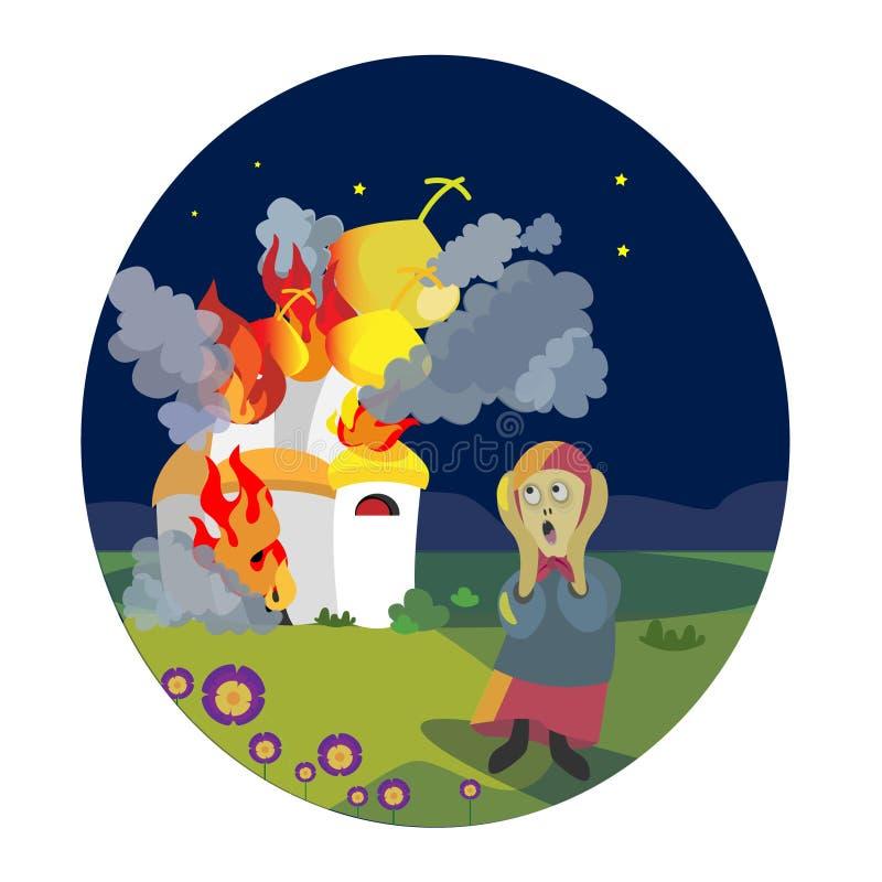 Шарж огня огня церков иллюстрации вектора смешной жует иллюстрация штока