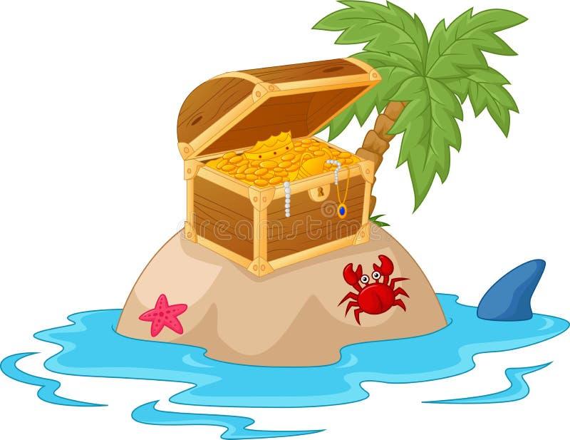 Шарж острова сокровища иллюстрация штока