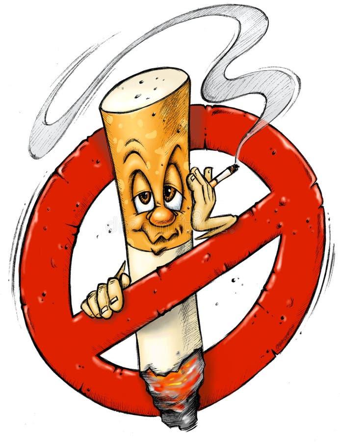 шарж отсутствие курить знака иллюстрация вектора
