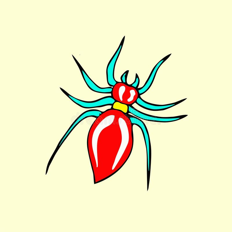 Шарж паука иллюстрация штока