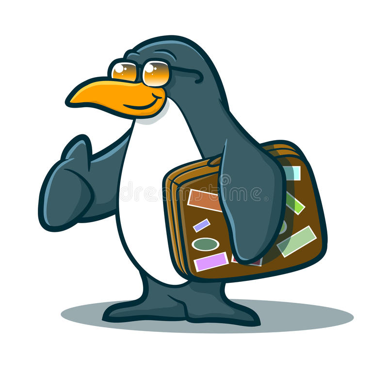 Шарж пингвина иллюстрация штока