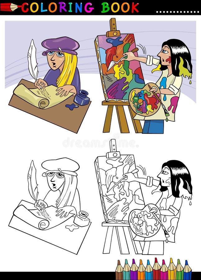 Шарж поета и колеривщика для расцветки иллюстрация штока