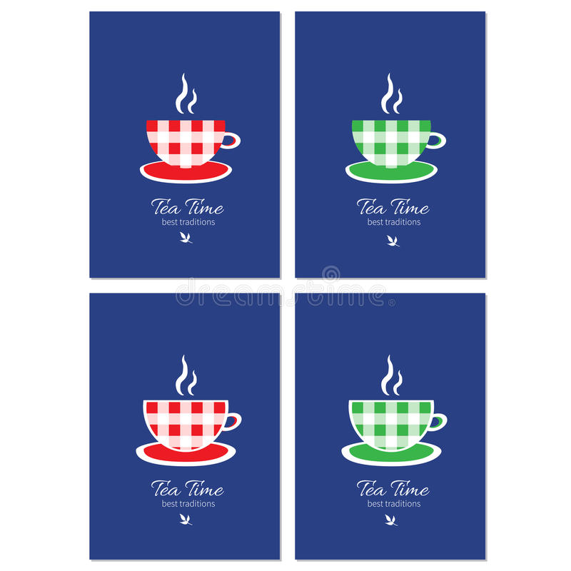 Шарж придает форму чашки иллюстрация вектора изолированная на голубой предпосылке, декоративной рамке, ярлыке шаблона, стильном д иллюстрация вектора
