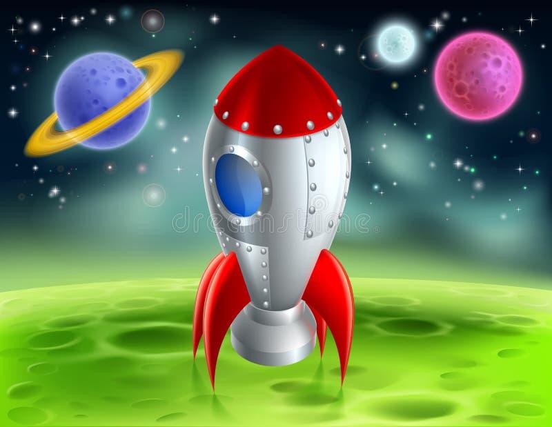 Шарж Ракета на планете чужеземца иллюстрация штока