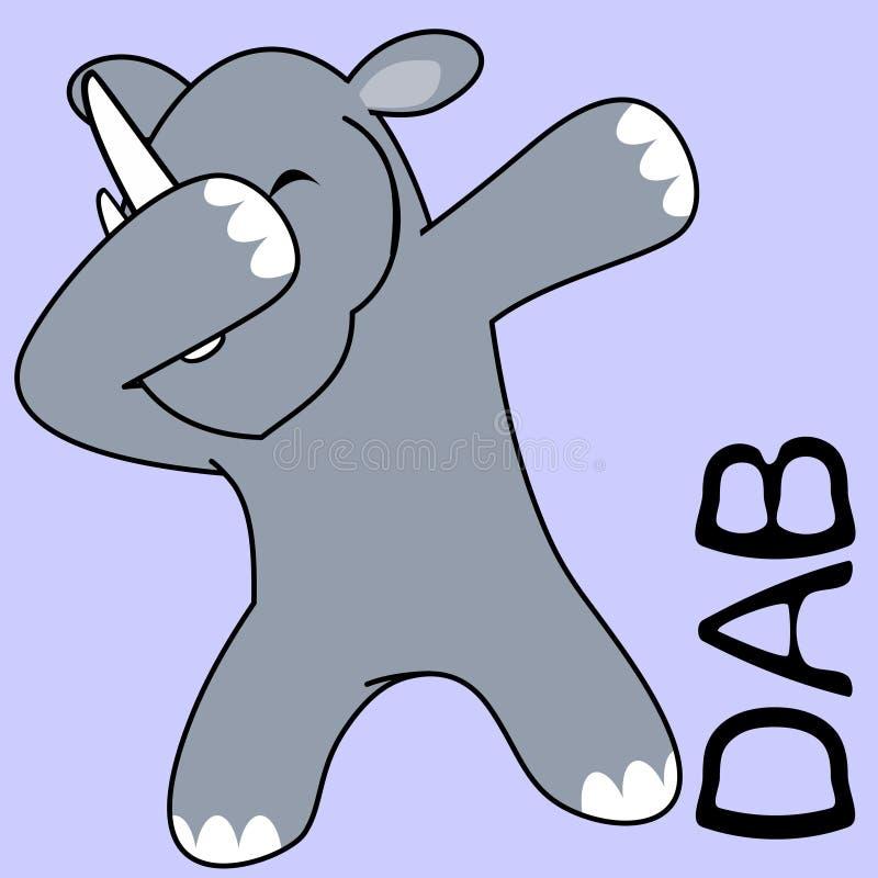 Шарж ребенк носорога представления лиманды dabbing иллюстрация вектора