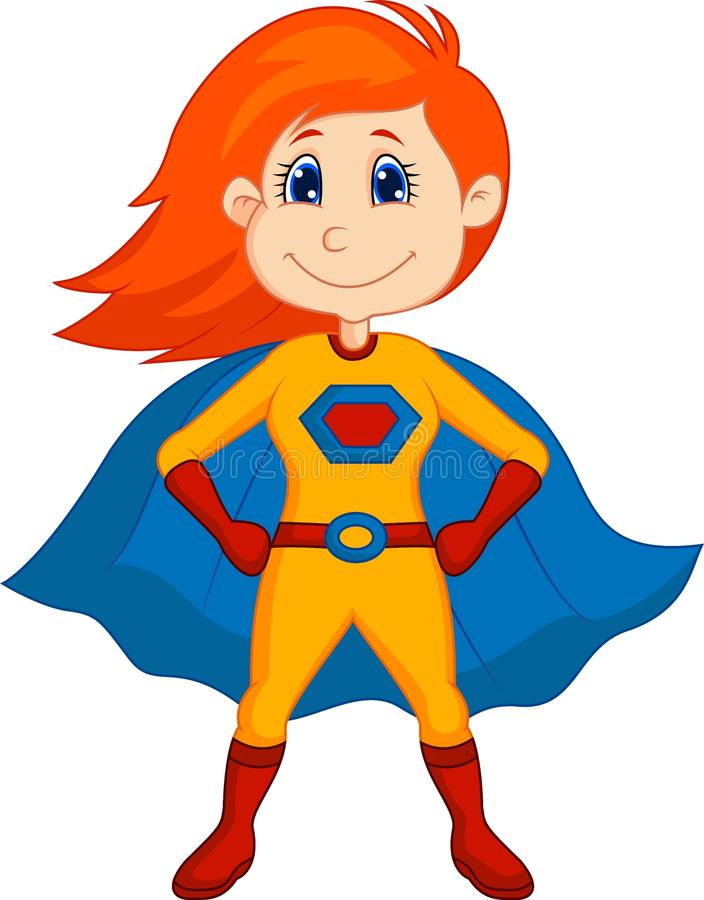Шарж ребенк супергероя иллюстрация вектора