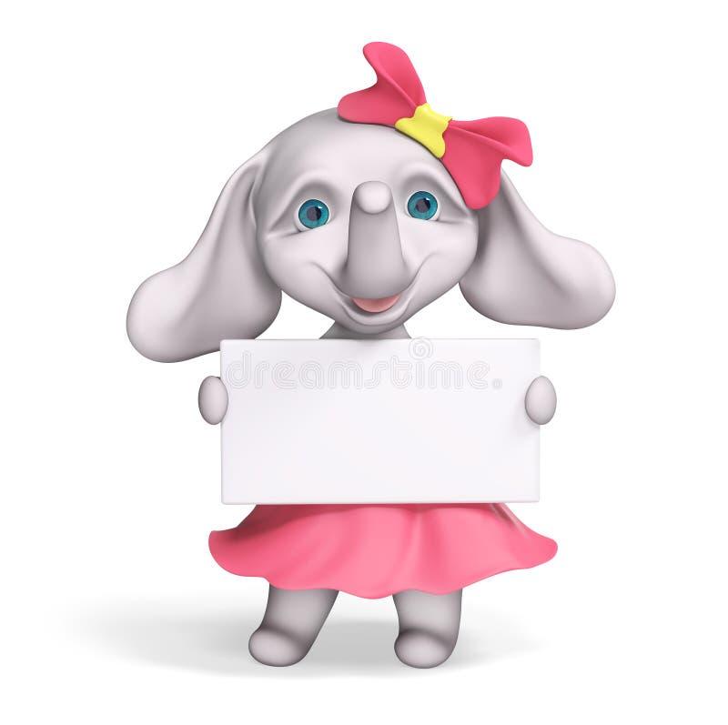 Шарж ребёнка слона с плакатом, переводом 3d иллюстрация вектора