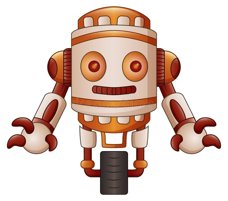 Шарж робота Брайна изолированный на белой предпосылке иллюстрация вектора