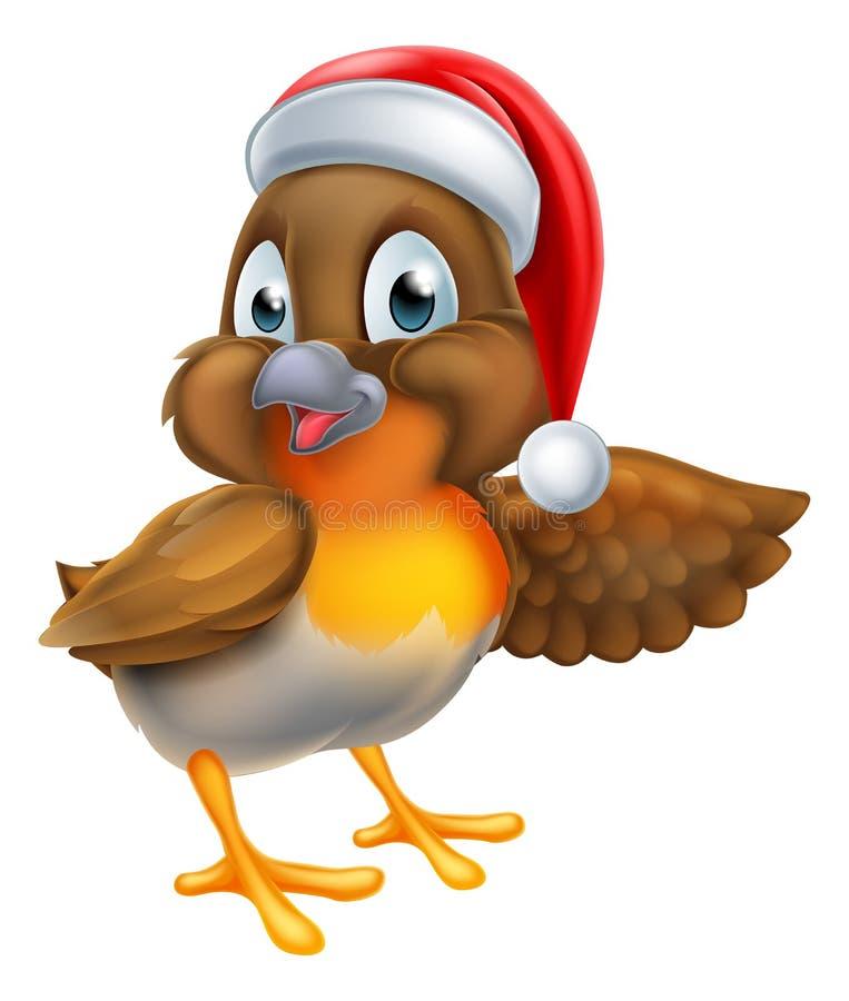 Шарж рождества птицы Робина иллюстрация вектора