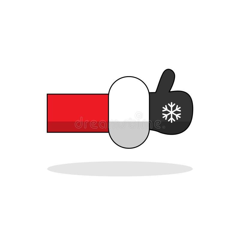 Шарж Санта Клаус вектора как изолированный значок руки Editable руки с перчаткой и снежинкой большие пальцы руки поднимают символ бесплатная иллюстрация