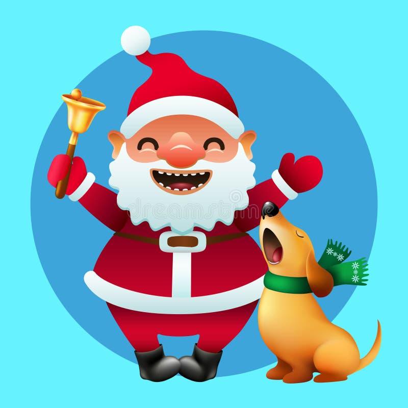 Шарж Санта Клаус с золотым колоколом и симпатичной собакой петь иллюстрация вектора