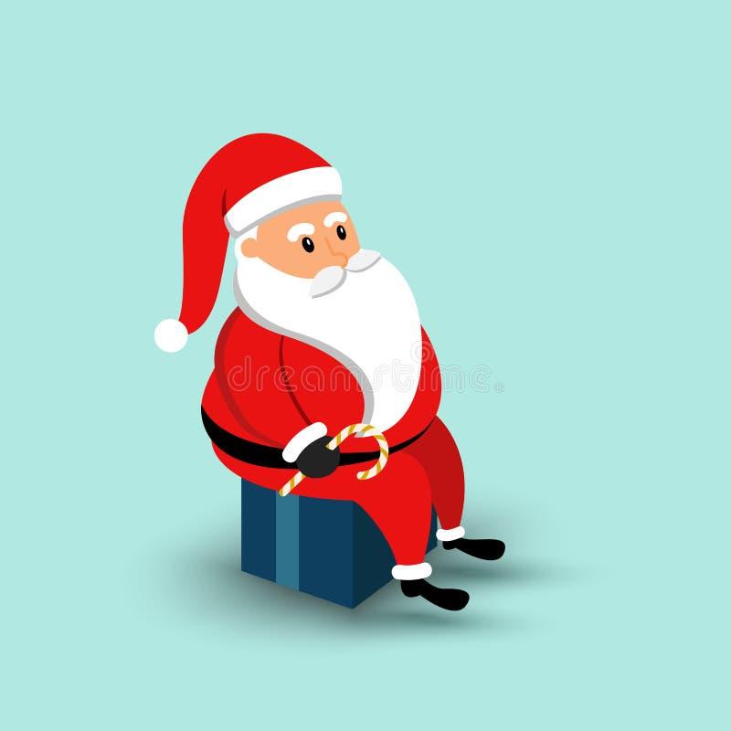 Шарж Санта Клаус сидя на подарочной коробке иллюстрация иллюстрация вектора