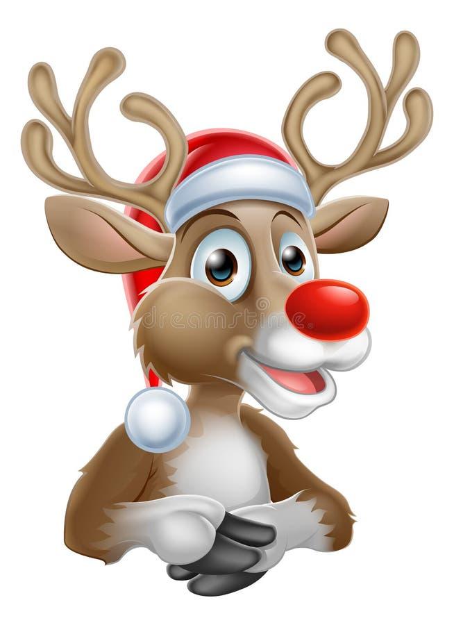 Шарж северного оленя рождества с шляпой Санты иллюстрация вектора