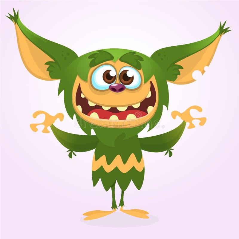 Шарж смеясь над зеленым извергом Иллюстрация вектора зеленого изверга Дизайн хеллоуина иллюстрация вектора