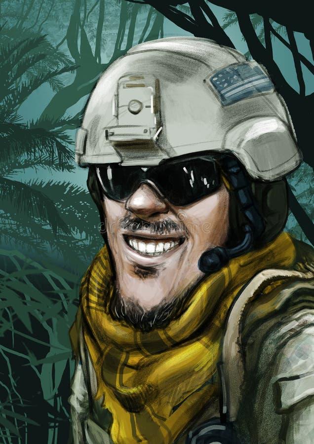 Шарж солдата сил специального назначения армии бесплатная иллюстрация