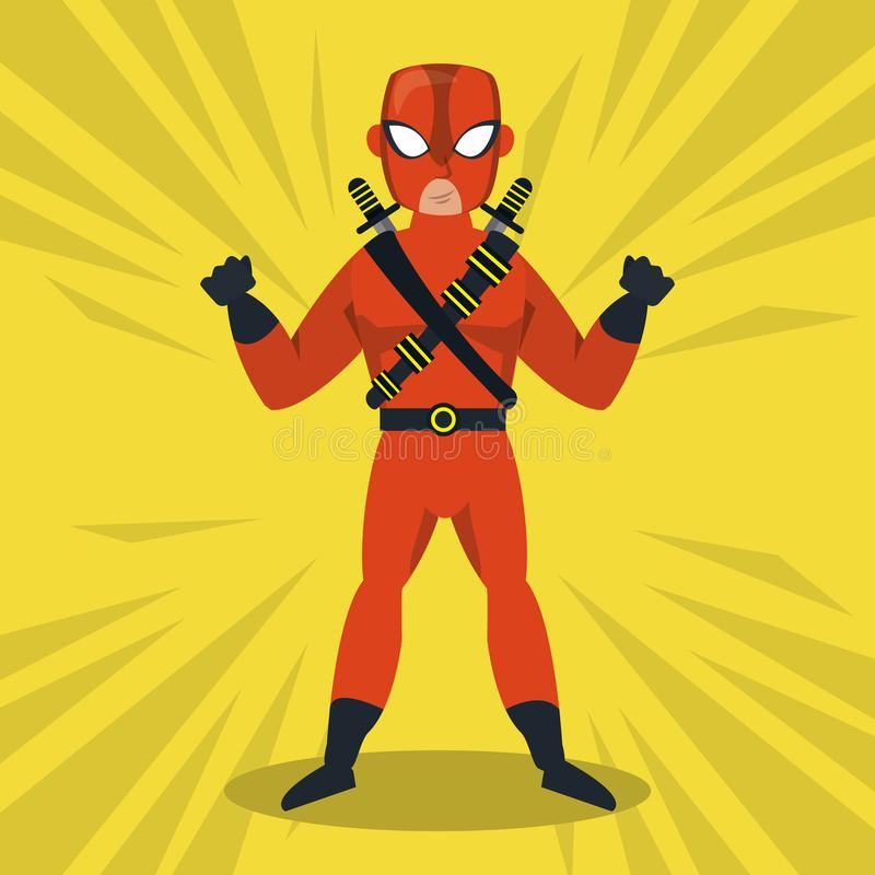 Шарж супергероя Ninja бесплатная иллюстрация