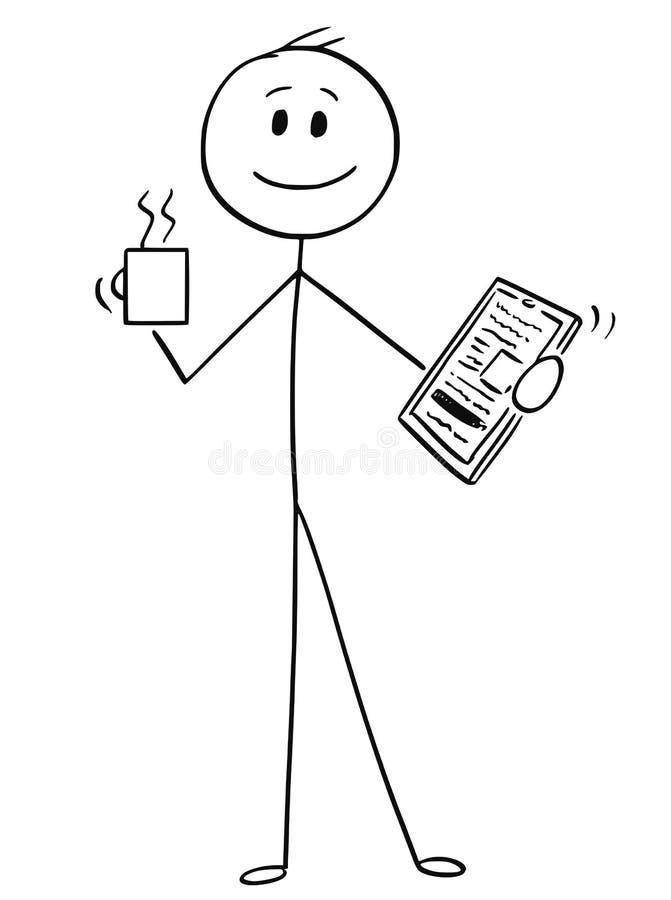 Шарж счастливого бизнесмена с кружкой кофе или чая и таблеткой в руках иллюстрация штока