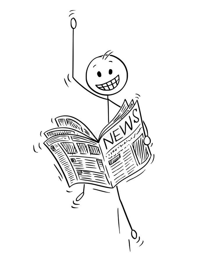 Шарж счастливых хороших новостей чтения бизнесмена в газете иллюстрация штока