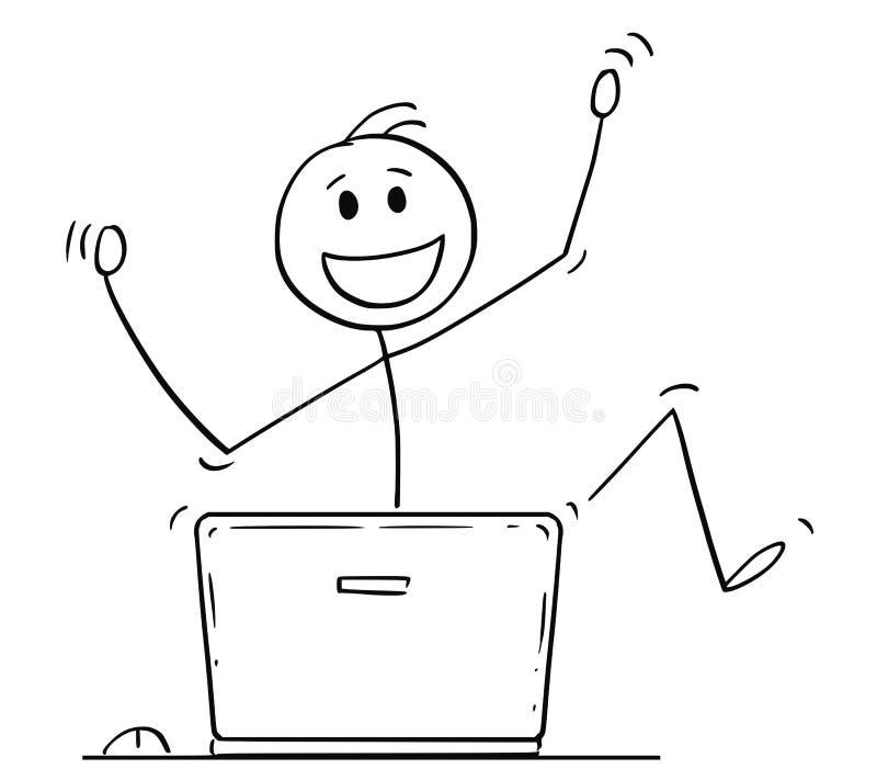Шарж счастливых человека или бизнесмена празднуя за портативным компьютером иллюстрация штока