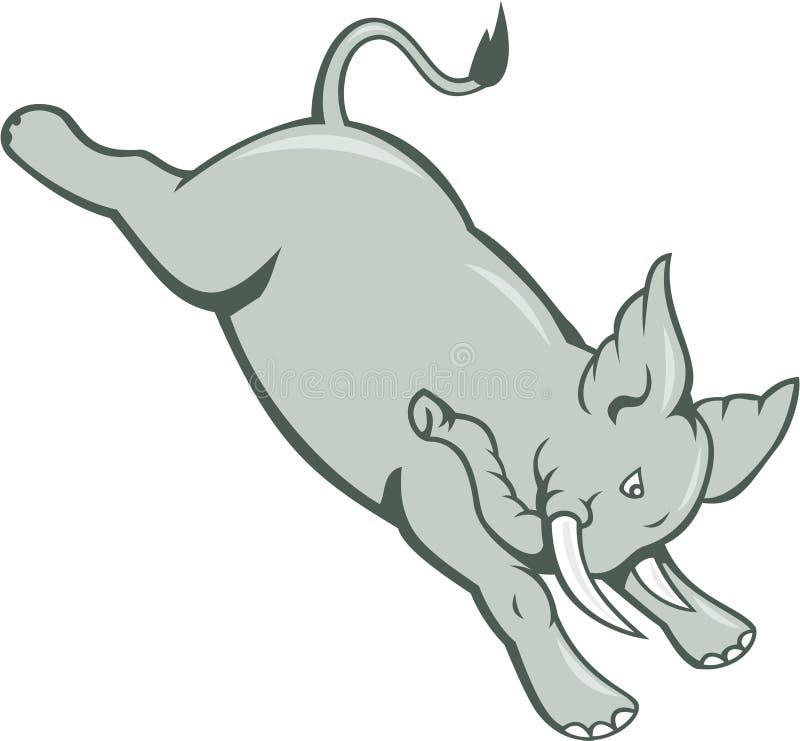 Шарж слона скача Bucking изолированный бесплатная иллюстрация