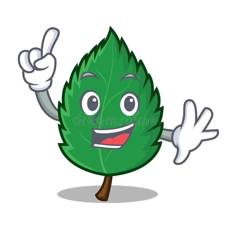 Шарж талисмана листьев мяты пальца бесплатная иллюстрация
