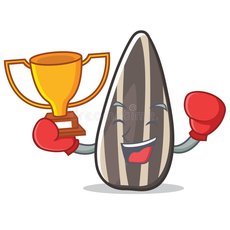 Шарж талисмана семян подсолнуха победителя бокса бесплатная иллюстрация