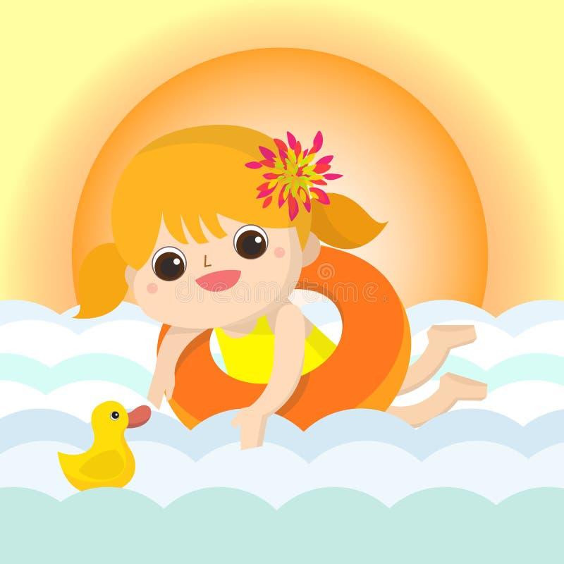 Шарж талисмана заплыва младенца большой для любых использует желтый цвет обоев вектора уравновешивания rac померанцовой картины ц бесплатная иллюстрация
