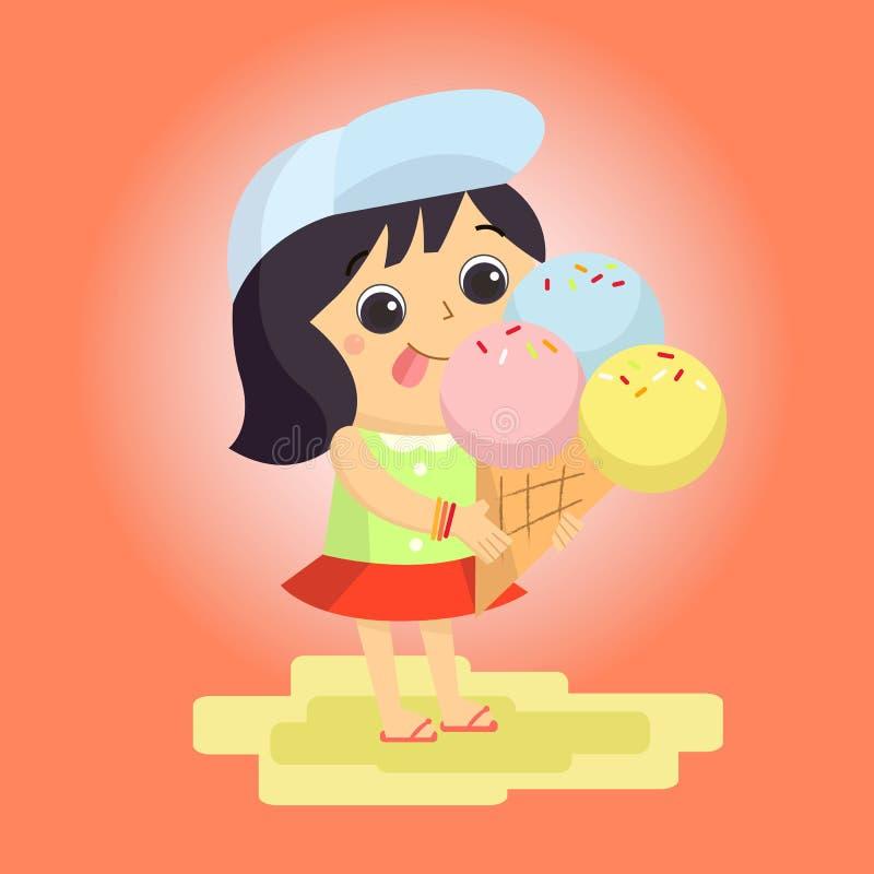 Шарж талисмана мороженого девушки большой для любых использует желтый цвет обоев вектора уравновешивания rac померанцовой картины бесплатная иллюстрация