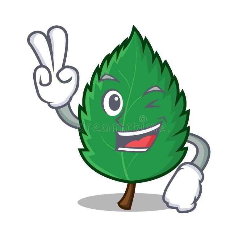 Шарж характера 2 листьев мяты пальца иллюстрация штока