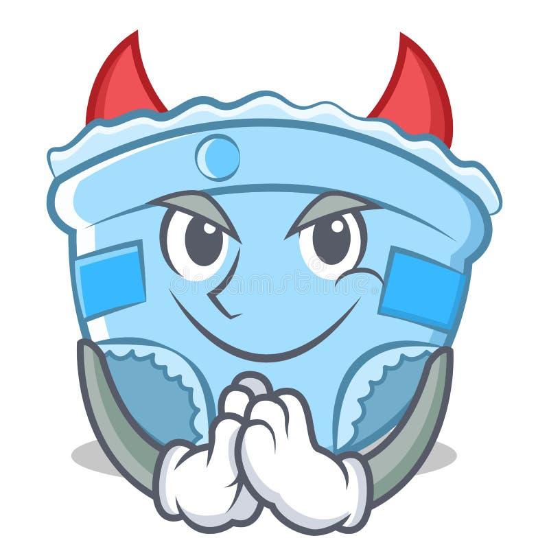 Шарж характера пеленки младенца дьявола иллюстрация вектора