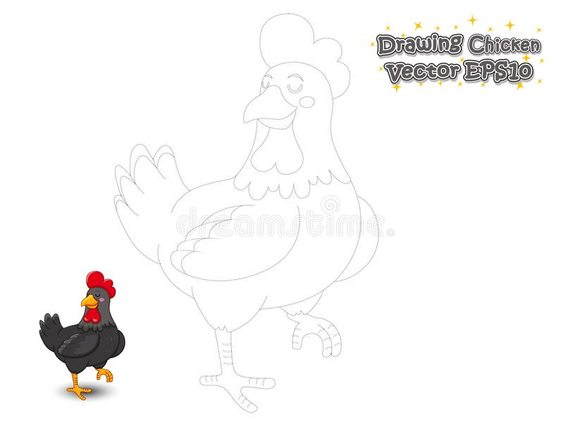 Шарж цыпленка чертежа и краски милый Воспитательная игра для ki иллюстрация штока