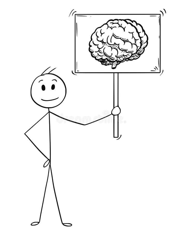 Шарж человека или бизнесмена держа знак с символом изображения мозга иллюстрация вектора