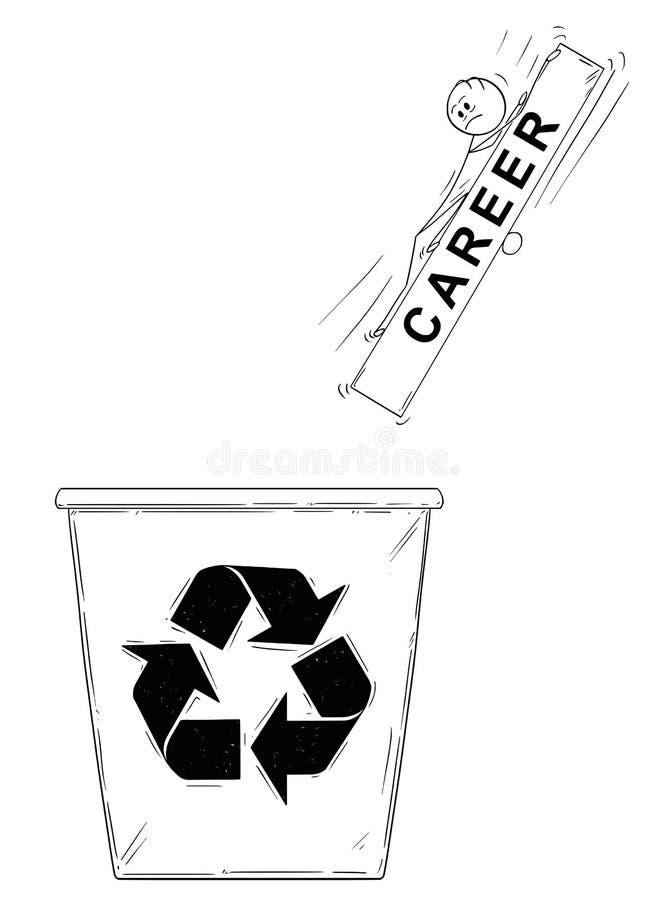 Шарж человека или бизнесмена и его карьера понижаясь в большие отход или мусорное ведро или могут иллюстрация вектора