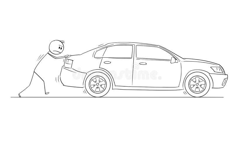 Шарж человека или бизнесмена нажимая сломанный автомобиль иллюстрация штока