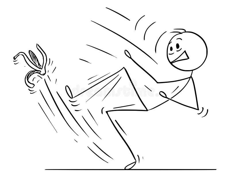 Шарж человека или бизнесмена смещая на корку банана иллюстрация штока