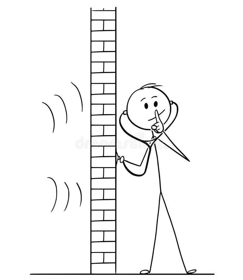 Шарж человека используя стетоскоп или Phonendoscope к шпионке и показывающ жест безмолвия иллюстрация штока