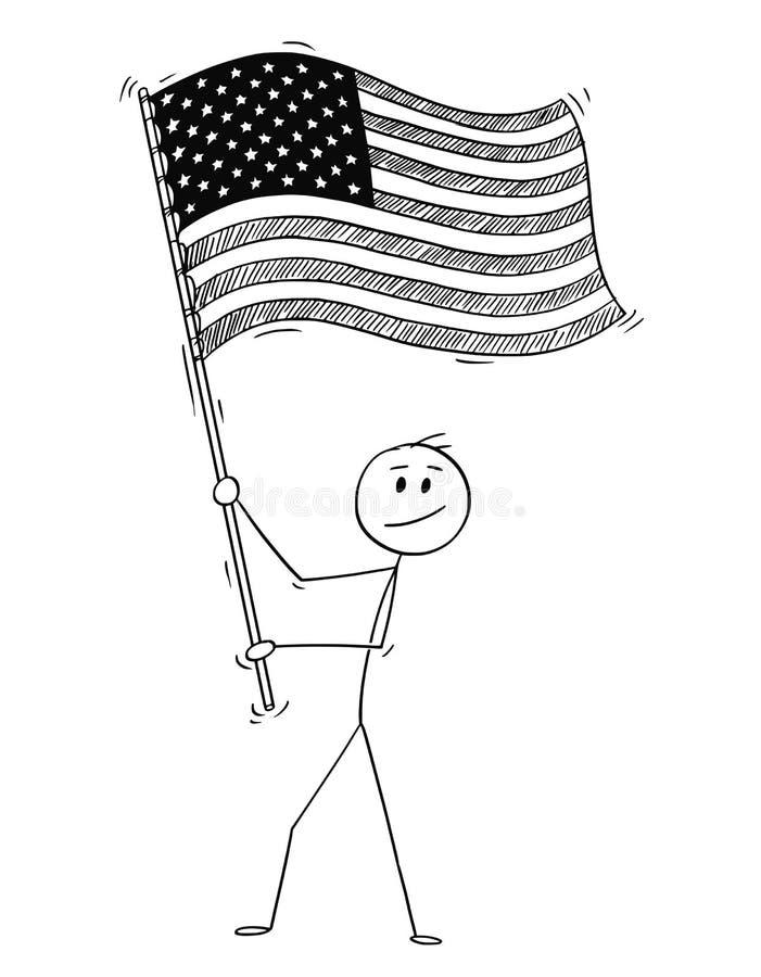 Шарж человека развевая флаг Соединенных Штатов Америки или США иллюстрация вектора