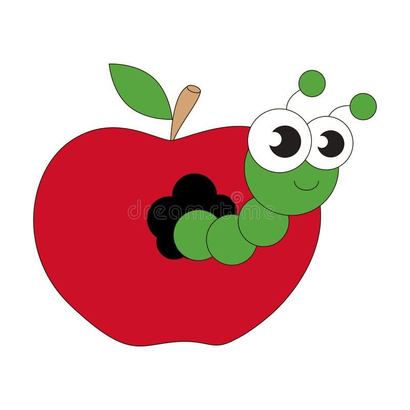 Шарж червя Яблока иллюстрация штока