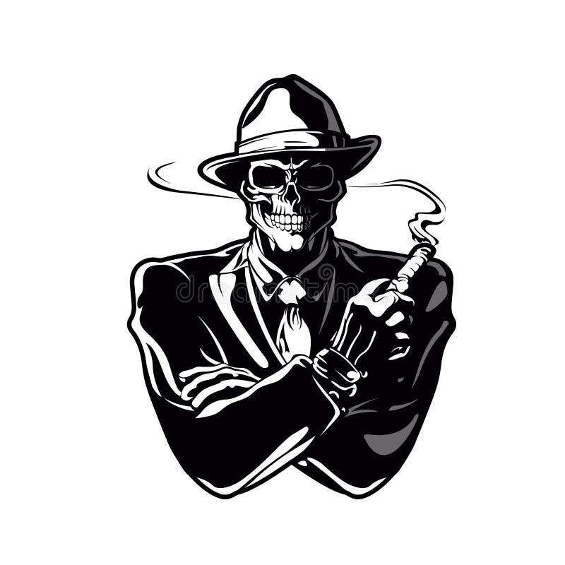 Шарж черепа гангстера бесплатная иллюстрация