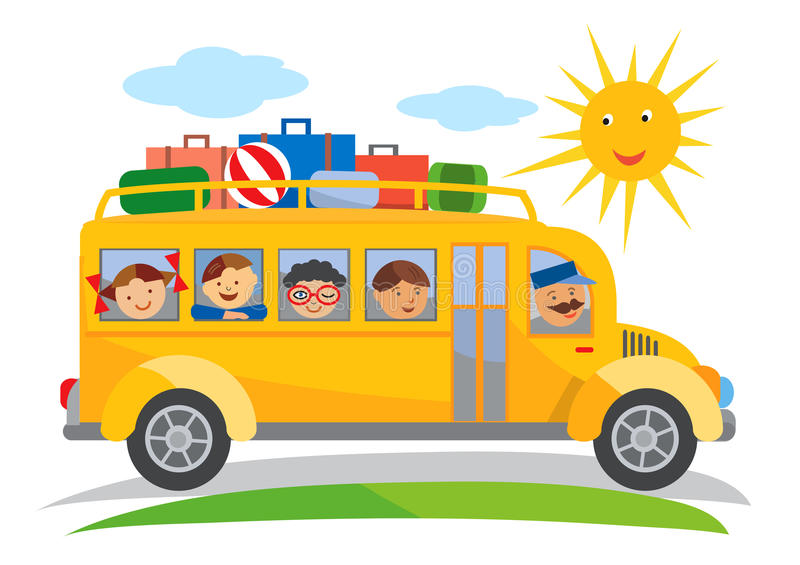 Шарж школьной поездки школьного автобуса иллюстрация вектора