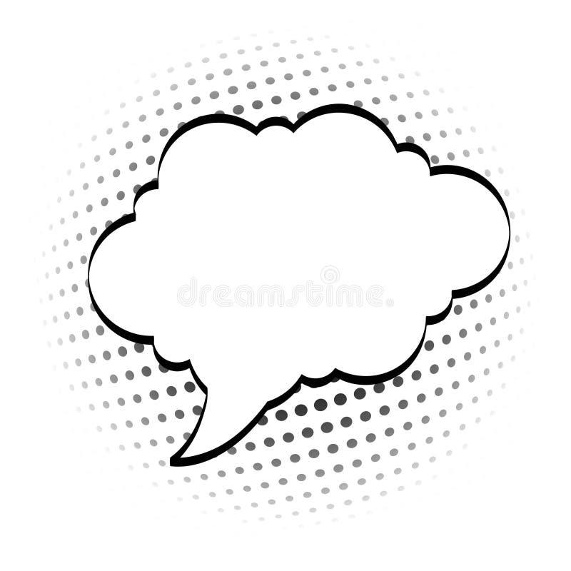 Шарж, шуточные пузыри речи, пустые облака диалога с полутоновым изображением иллюстрация штока