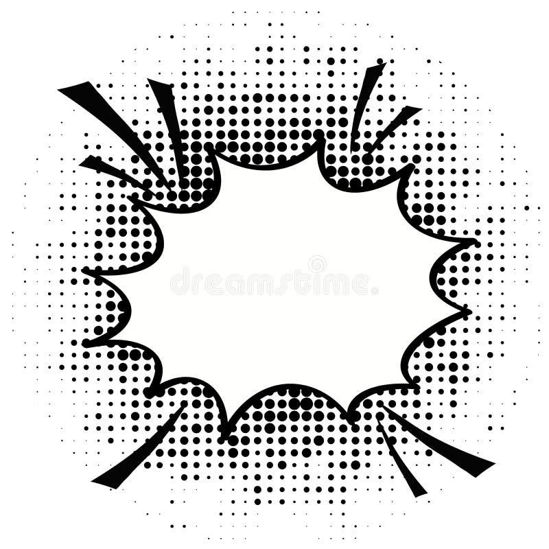 Шарж, шуточные пузыри речи, пустые облака диалога с полутоновым изображением иллюстрация вектора