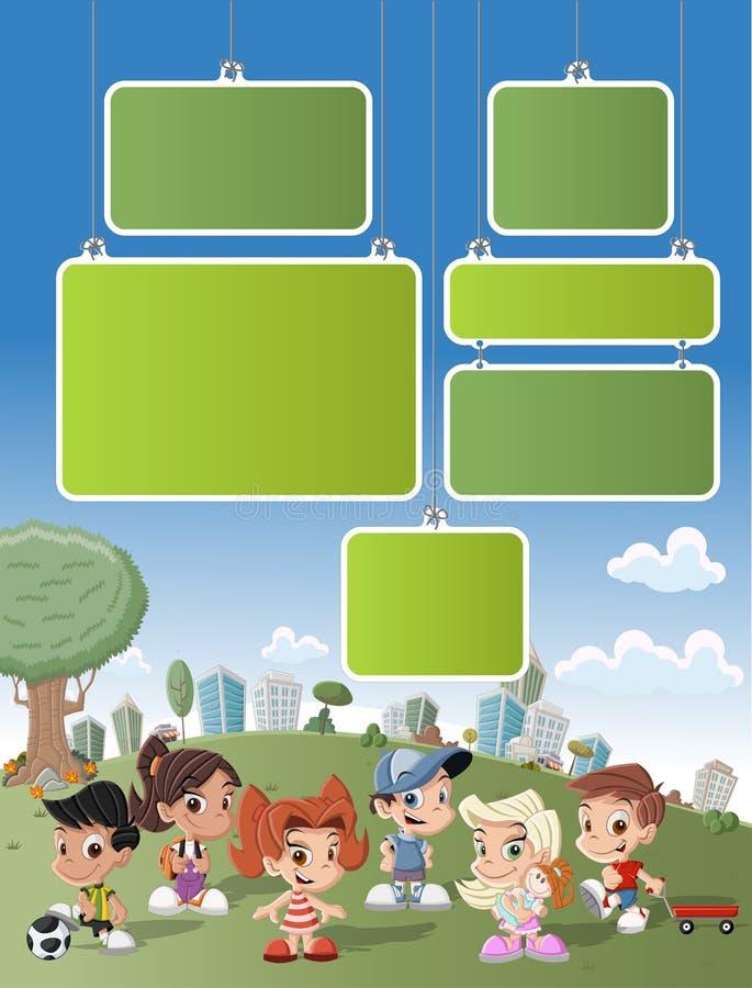 Шарж ягнится играть в зеленом парке на городе бесплатная иллюстрация