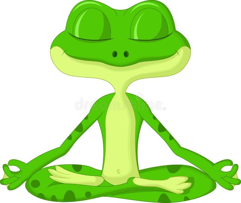 Шарж лягушки делая йогу иллюстрация вектора