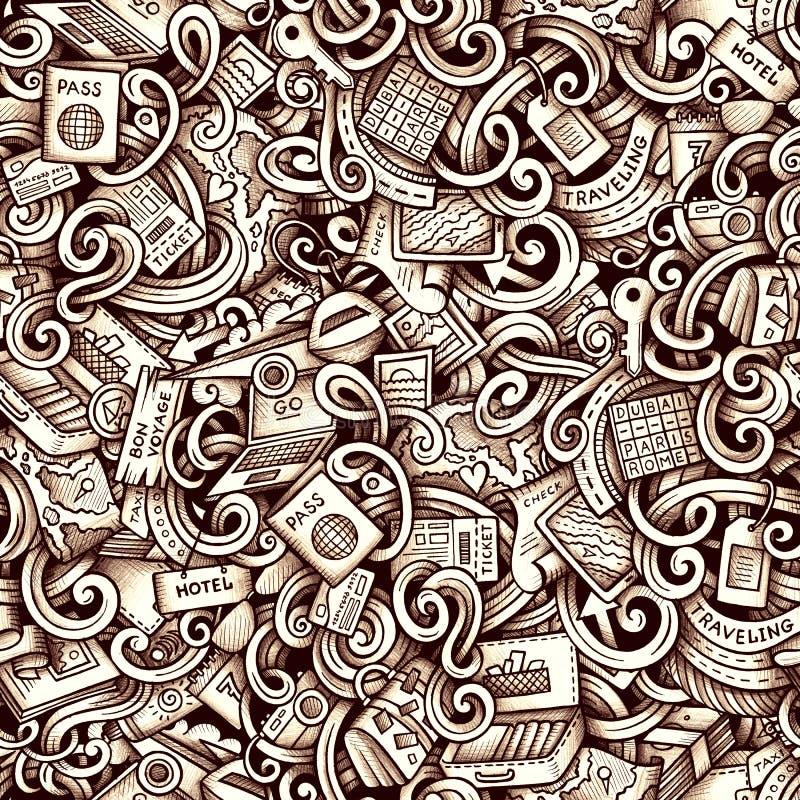 Шарж doodles картина сезона путешествий безшовная бесплатная иллюстрация