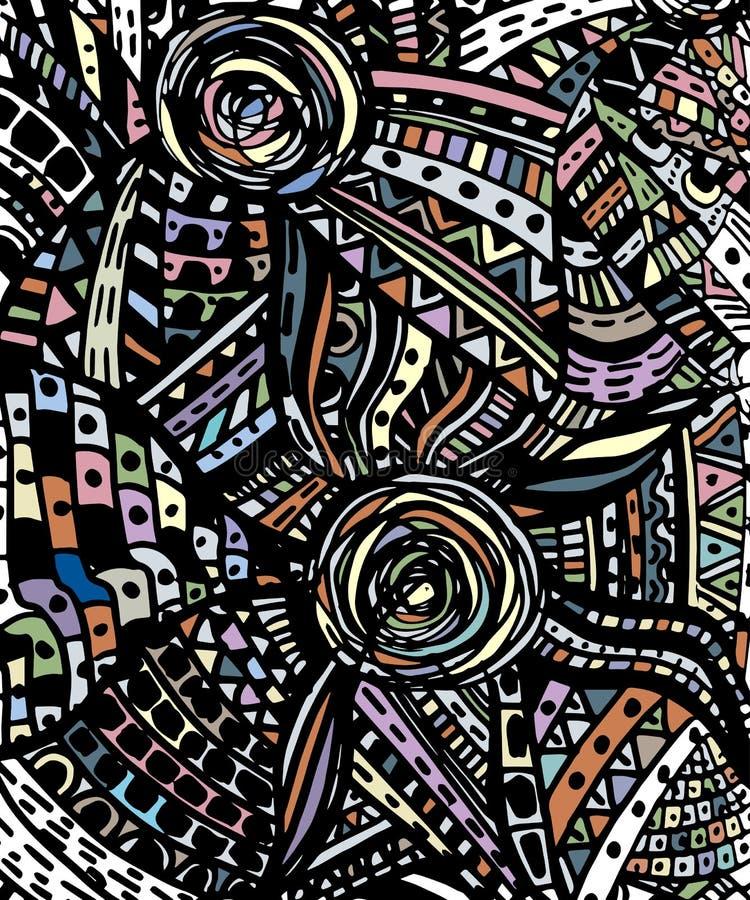 Шарж doodles предпосылка нарисованная рукой картина безшовная иллюстрация вектора