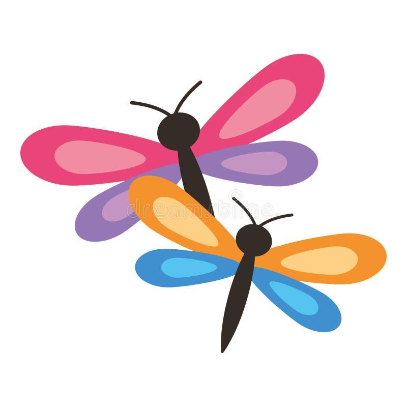 Шарж 2 dragonflies милый животный иллюстрация штока