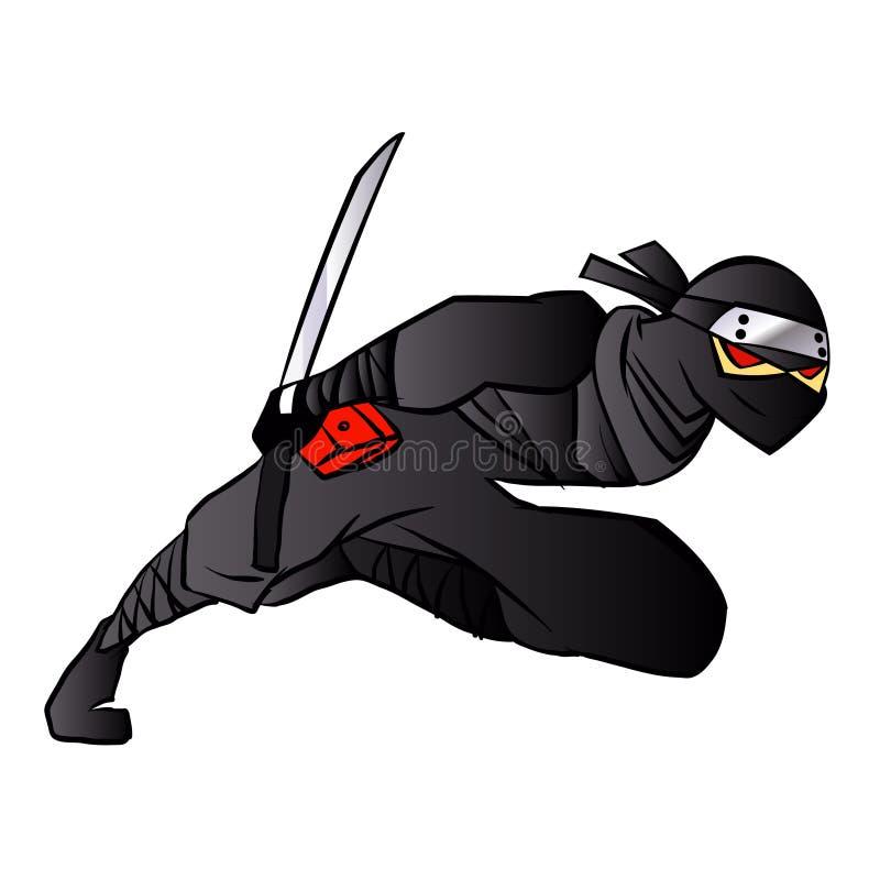 Шарж Ninja скача в бой с шпагой бесплатная иллюстрация
