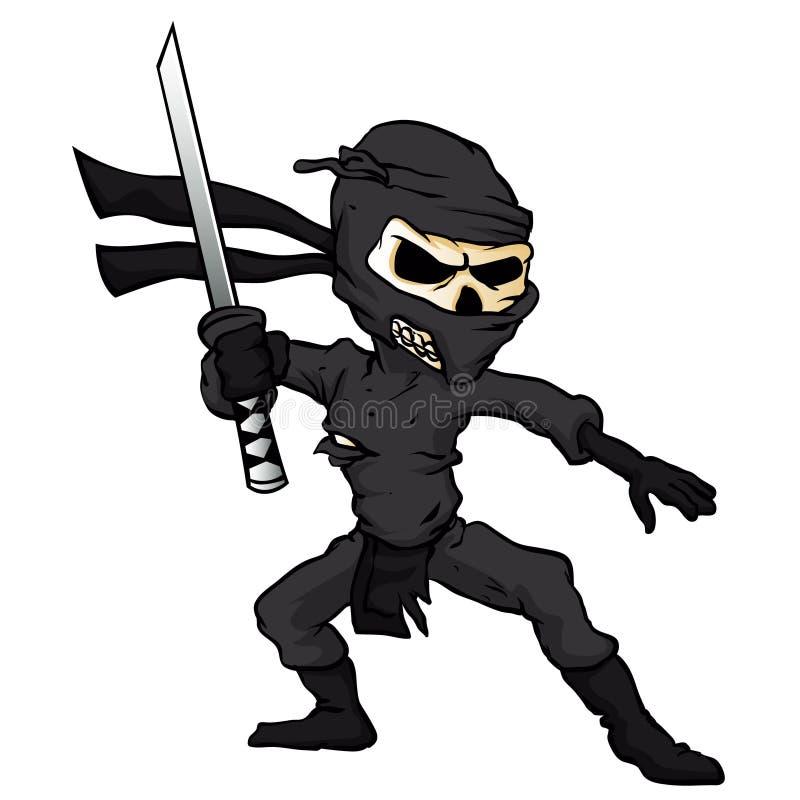 Шарж ninja черепа иллюстрация вектора